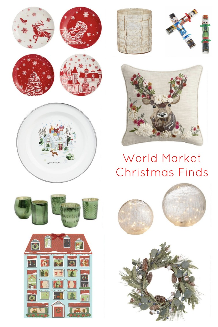 collage showing a variety of Christmas home decor items from World Market