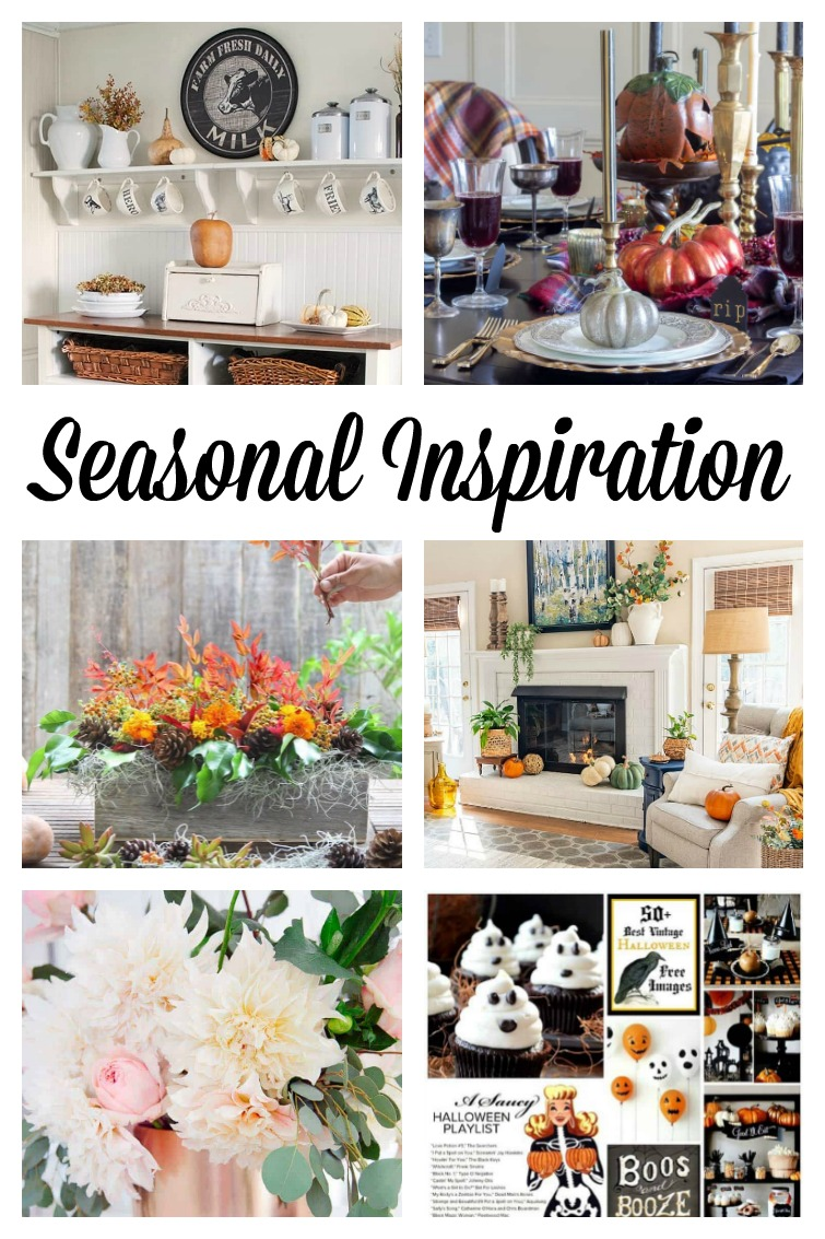 collage photo showing Thanksgiving, Halloween and fall decorating ideas