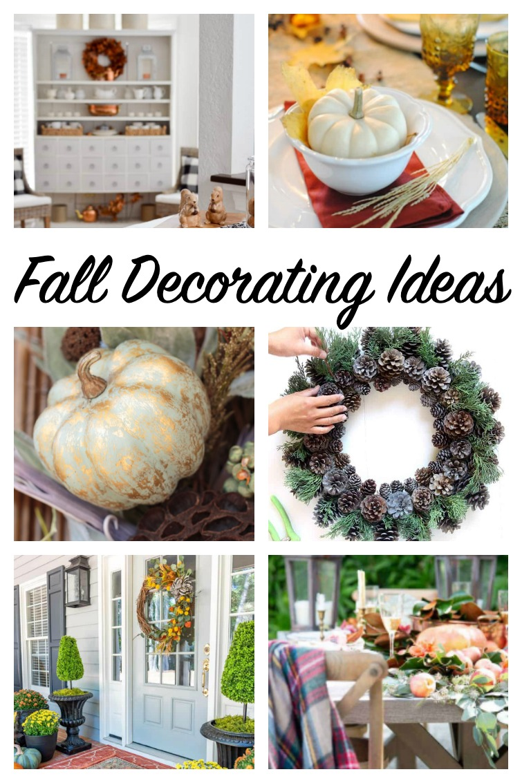 collage showing six different fall decorating ideas