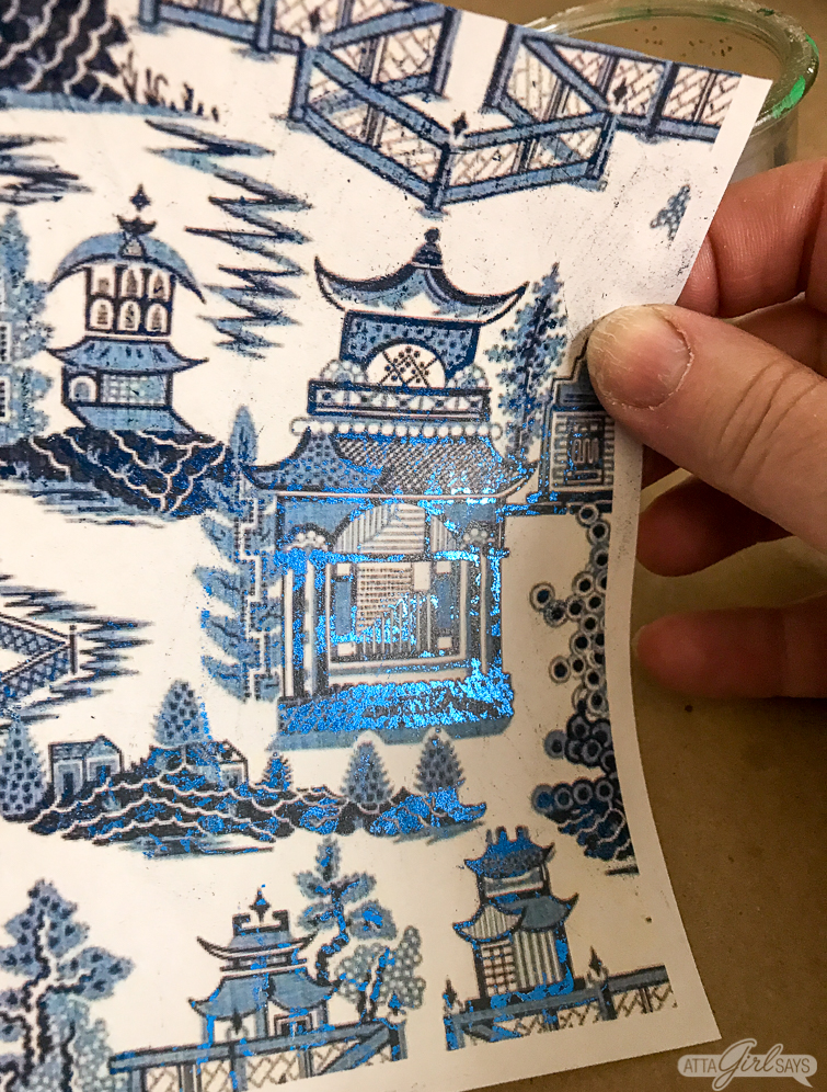 metallic foil chinoiserie printed paper
