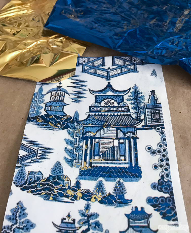 gold and blue metallic foil chinoiserie printed paper