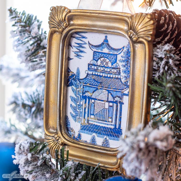 Chinese pagoda chinoiserie Christmas ornament hanging on a Christmas tree