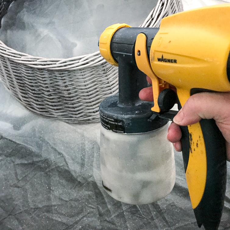using a paint sprayer to paint a Christmas tree collar