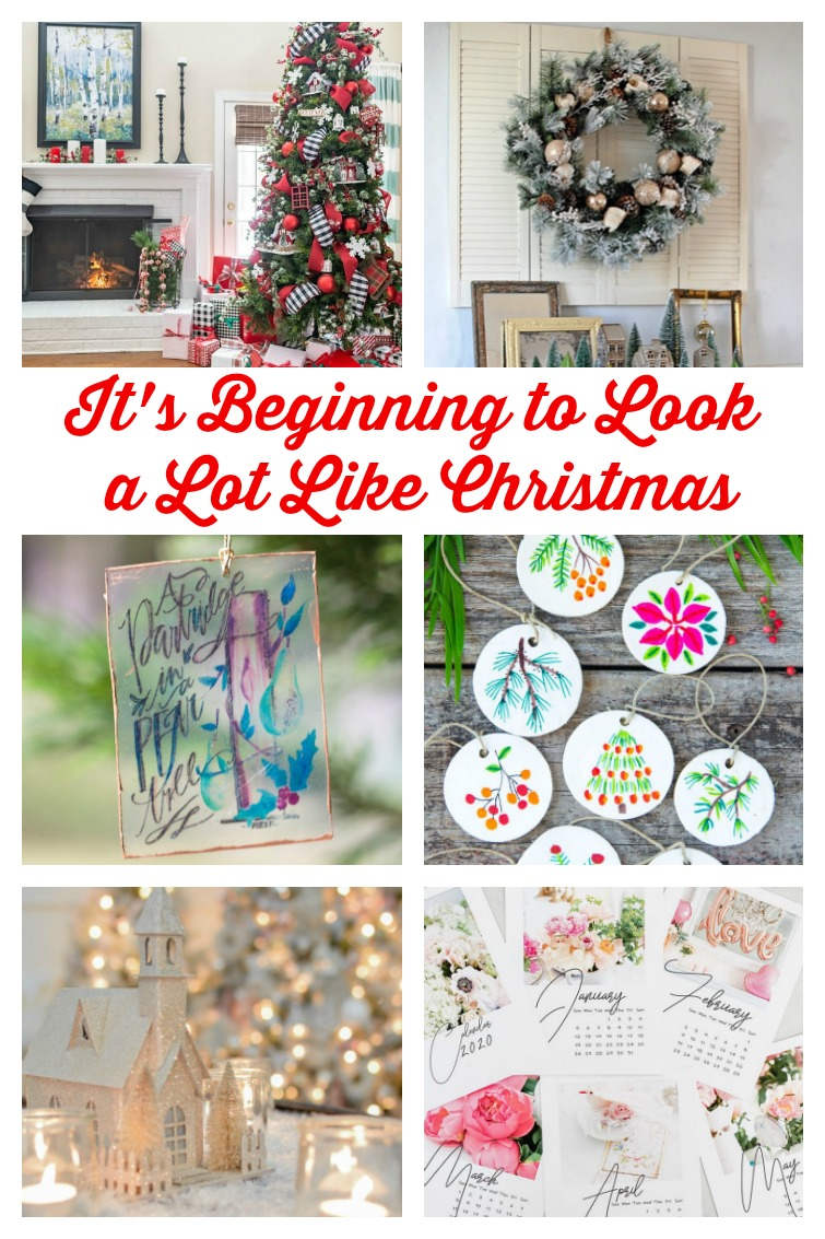 collage photo showing Christmas decorating ideas and crafts