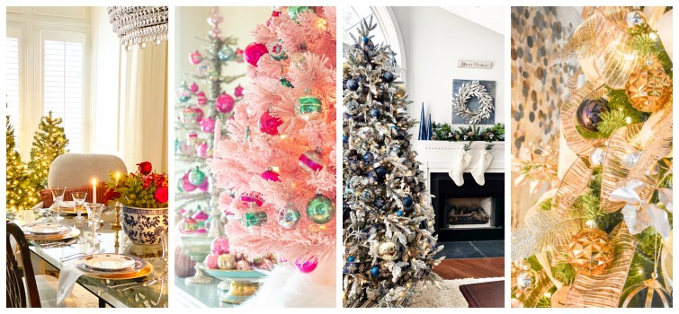 collage photo showing four different trees decorated for Christmas