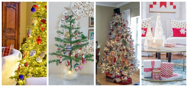 collage with four decorated Christmas trees