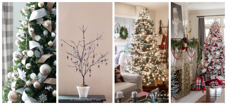 collage photo showing four different decorated Christmas trees