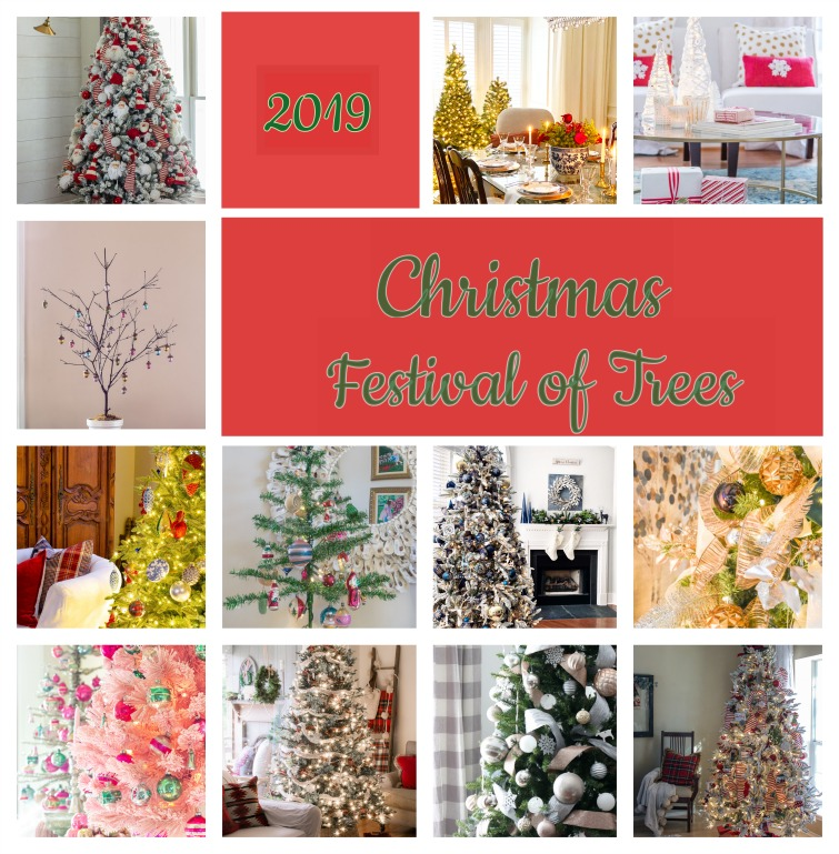 photo collage of 12 different decorated Christmas trees