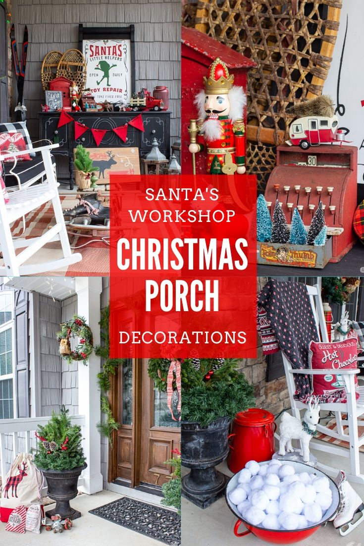 collage photo showing a large front porch decorated to look like the North Pole and Santa's workshop
