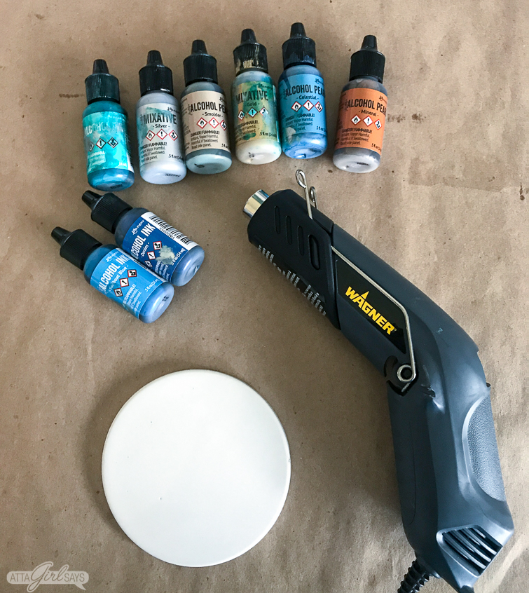 heat gun, round tile and alcohol inks to make alcohol ink coasters