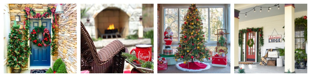 collage showing four porches decorated for Christmas