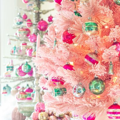vintage Shiny Brite ornaments on a pink Christmas tree