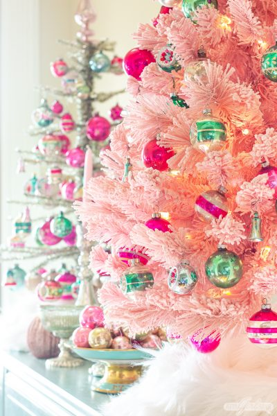 Pink Christmas Tree with Shiny Brite Ornaments