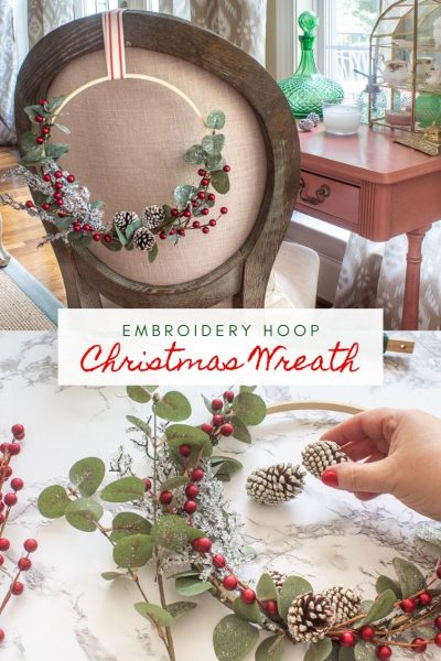 Farmhouse-Style Embroidery Hoop Christmas Wreath