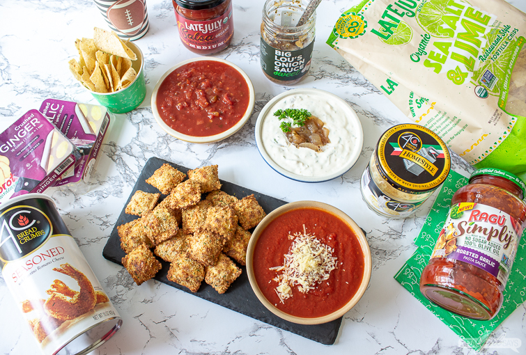 fried ravioli, onion dip, salsa and tortilla chips for a Big Game party