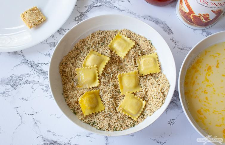 breading toasted ravioli