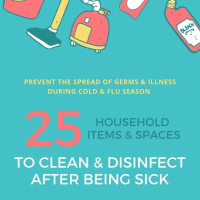 graphic with illustration showing cleaning products and tools and 25 household items and spaces to clean after being sick