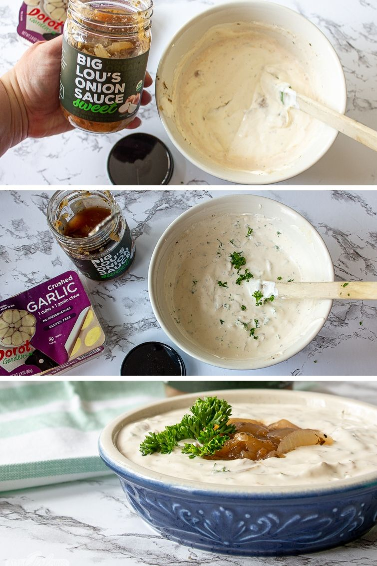 making homemade French onion dip with sauteed onions