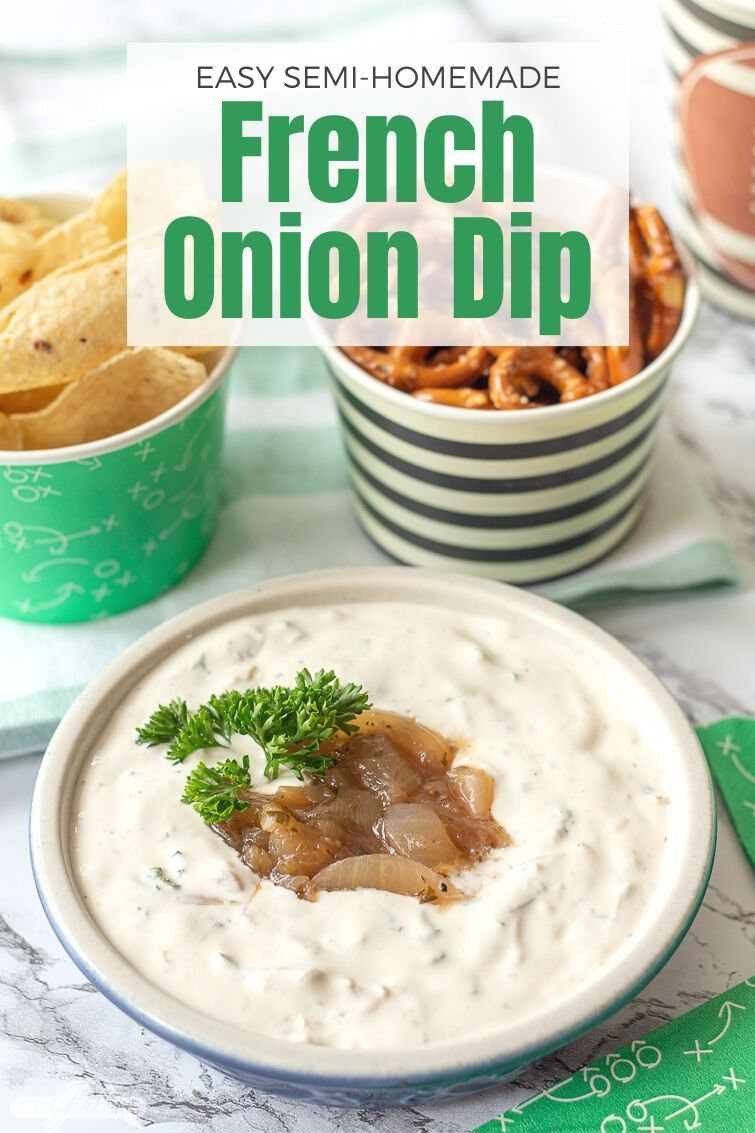 bowl of french onion dip with pretzels and tortilla chips for a football party
