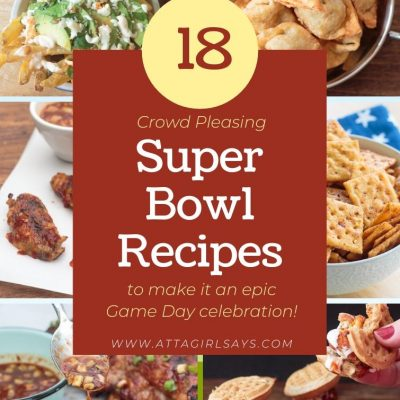 collage with six appetizer recipes perfect to serve as Super Bowl Party food