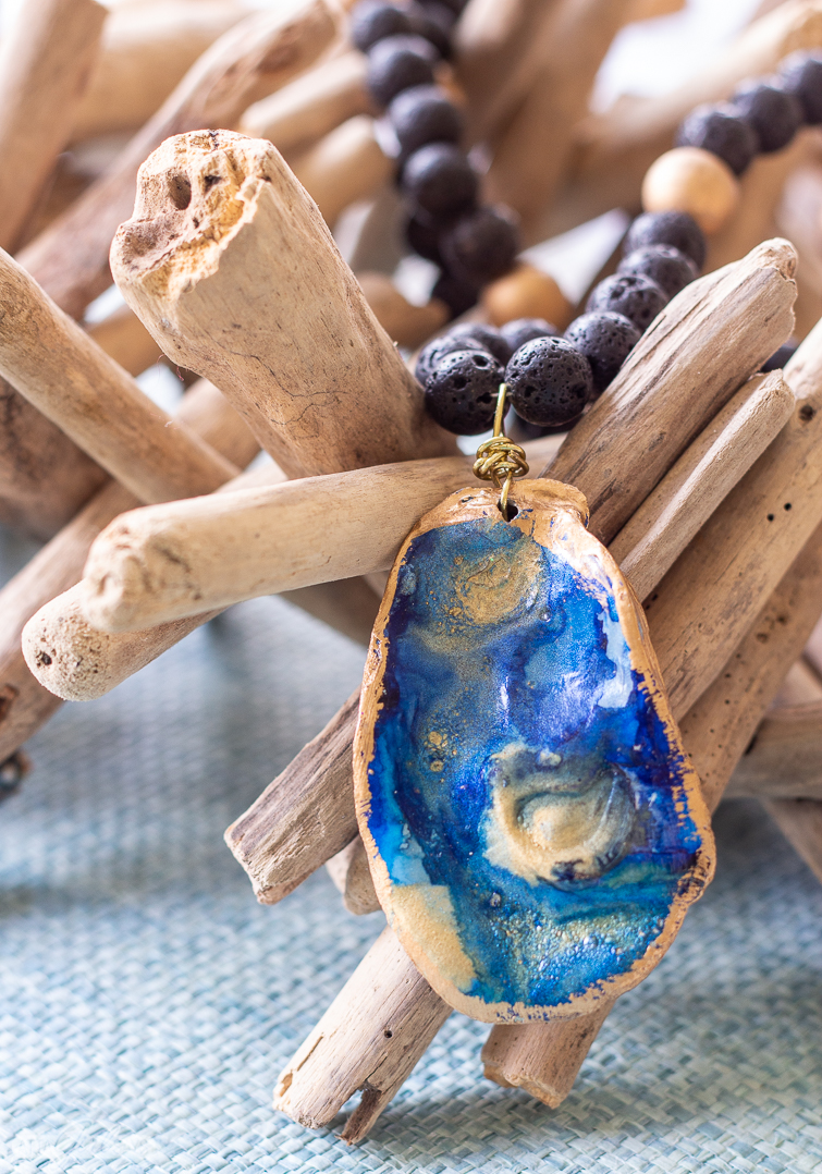 blue and gold alcohol ink oyster shell necklace