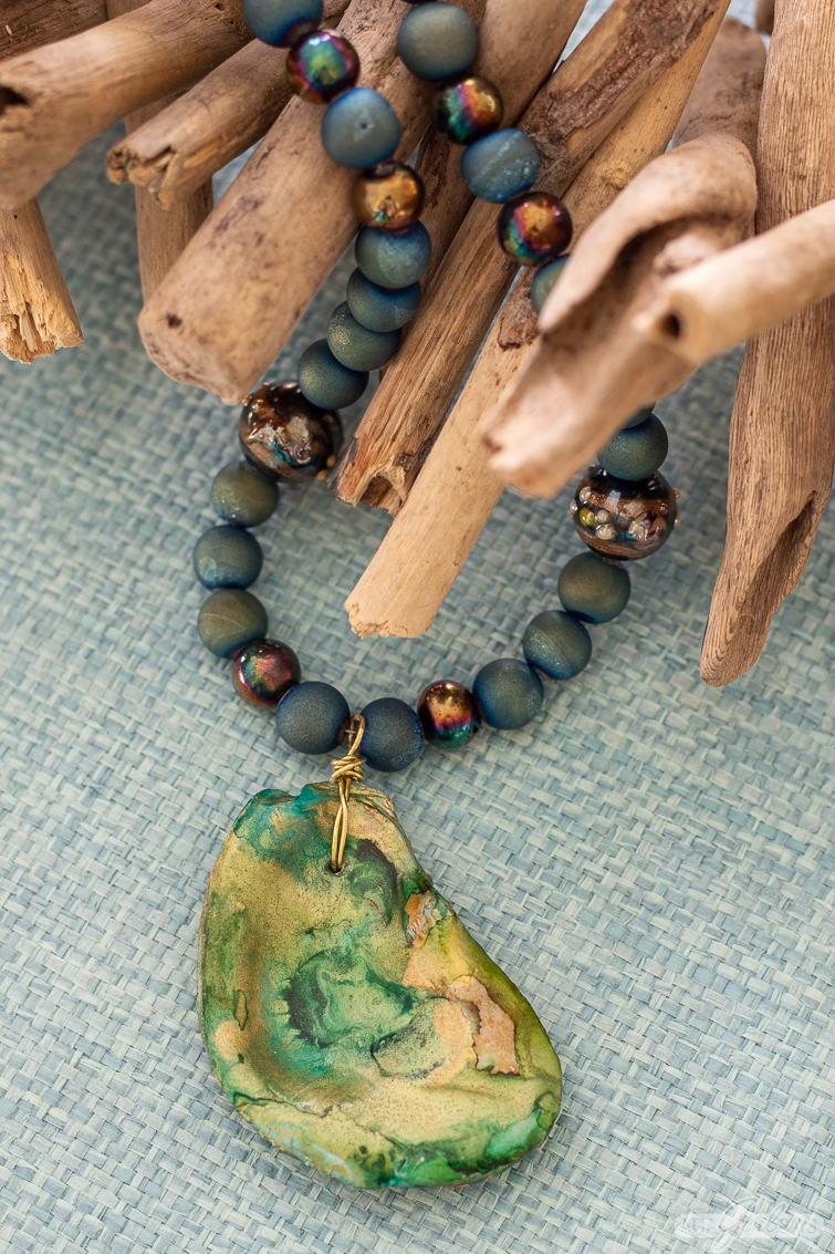 green and gold oyster shell necklace