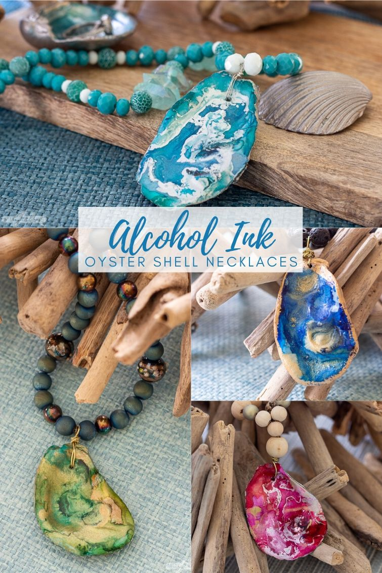 collage with four beaded oyster shell necklaces made using alcohol inks