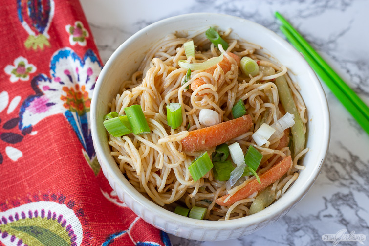 Cold Sesame Noodles with Vegetables in a Peanut Sauce