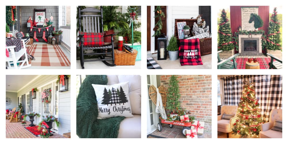 collage showing eight different porches decorated for Christmas