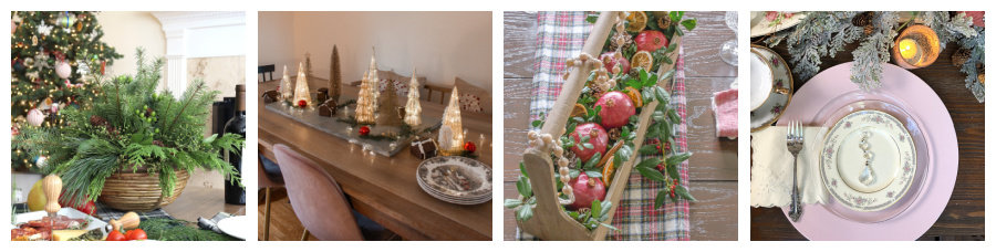 collage showing four Christmas tablescapes and centerpieces