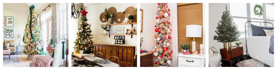 collage showing four different decorated Christmas trees
